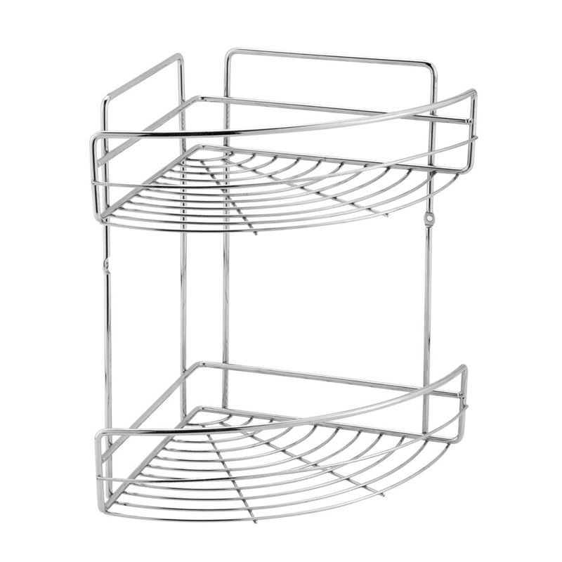 Zuhause – 2 Tier Chrome Bathroom Corner Rack 32.5×23.5×31.5cm
