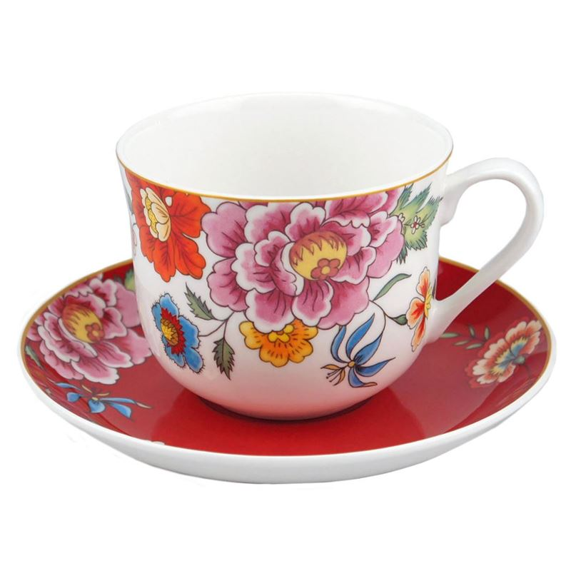 Dan Samuels – Imari Fine Bone China Gift Boxed Breakfast Cup and Saucer Set 370ml Red