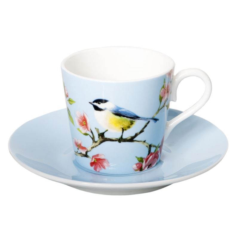 Dan Samuels – Blossom Bird Fine Bone China Espresso Cup and Saucer Set 80ml Blue