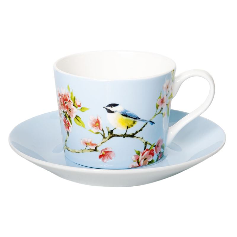 Dan Samuels – Blossom Bird Fine Bone China Tea Cup and Saucer Set 250ml Blue