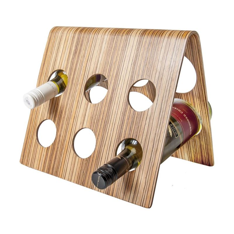 Zuhause – Jasper Designer Collection Niklas 6 Bottle Wine Rack Zebrano 30x25cm