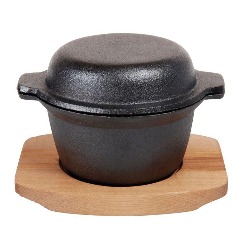 Benzer – Sizzle Cast Iron Garlic Prawn Dish with Wooden Tray 12cm