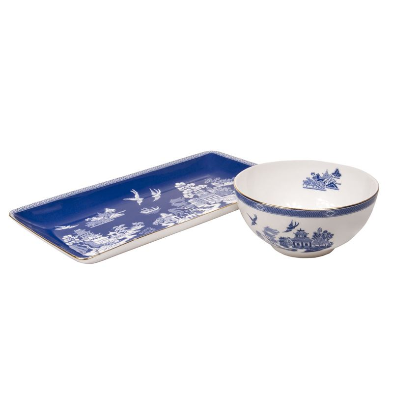 Dan Samuels – Imperial Willow in Blue Fine Bone China Sandwich Tray and Bowl Set