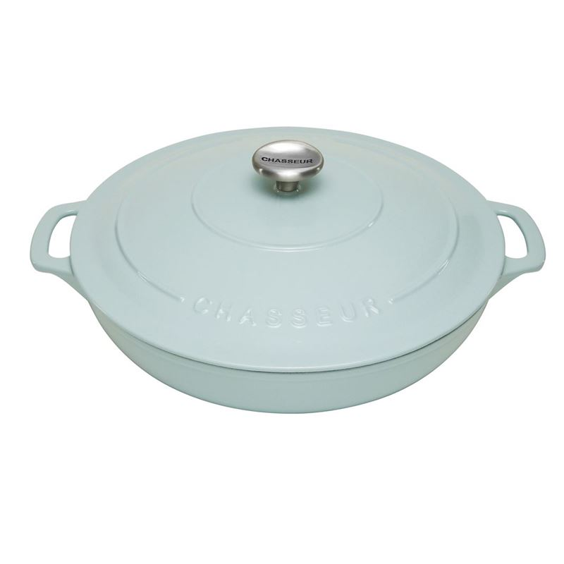 Chasseur Cast Iron – Duck Egg Blue 30cm 2.5Ltr Low Round Casserole (Made in France)