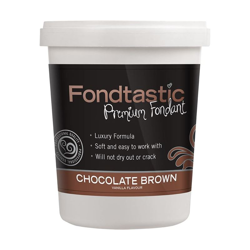 Fondtastic – Premium Rolled Vanilla Flavoured Fondant Chocolate Brown 908g (Made in Canada)