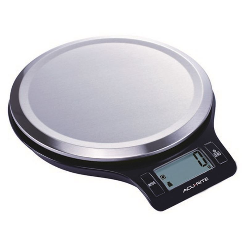 'Acu-Rite' – Stainless Steel Round Digital Kitchen Scale Black Base