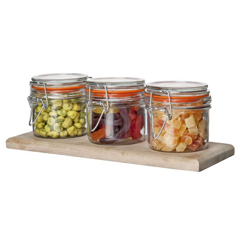 Benzer – Martha's Glass Storage Jars with Airtight Lids on Wooden Tray 200ml 10×21.5cm