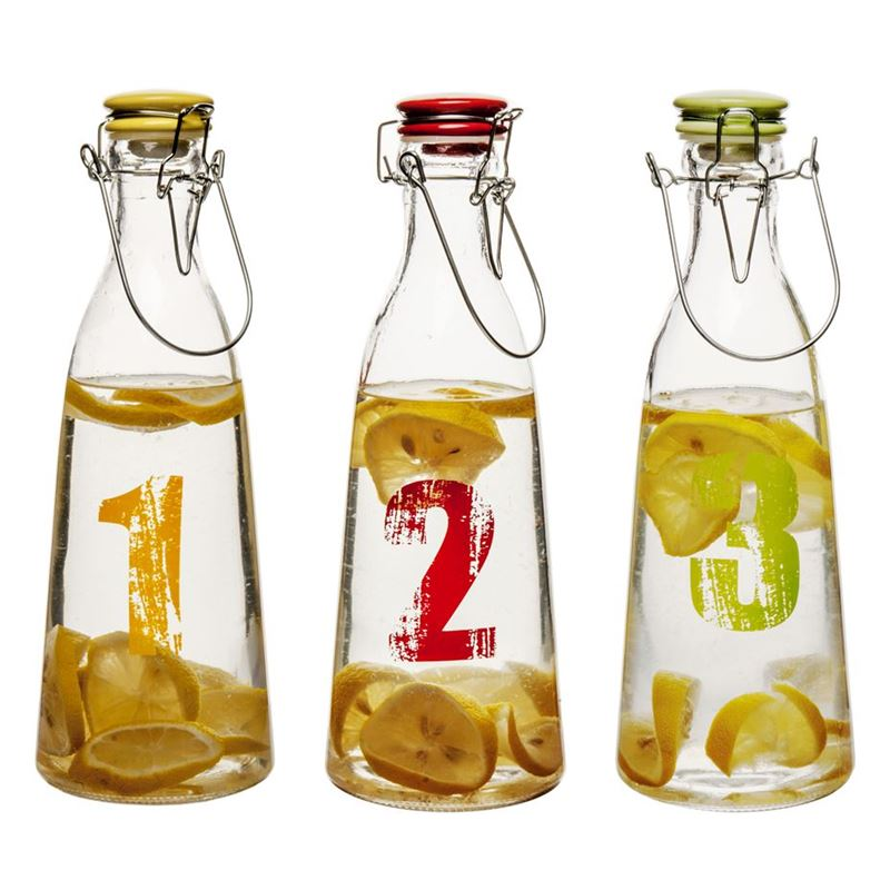 Benzer – Numero Glass Beverage Bottles Set of 3 with Airtight Clip & Seal Tops 1 Ltr 10.2x29cm