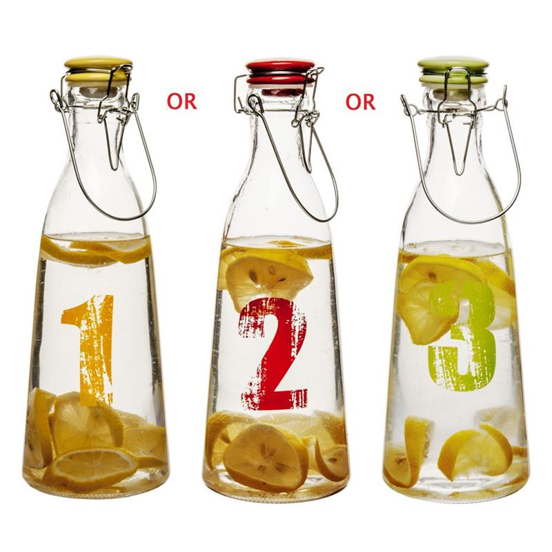 Benzer – Numero  Glass Beverage Bottle with Airtight Clip&Seal Tops 1 Ltr 10.2x29cm