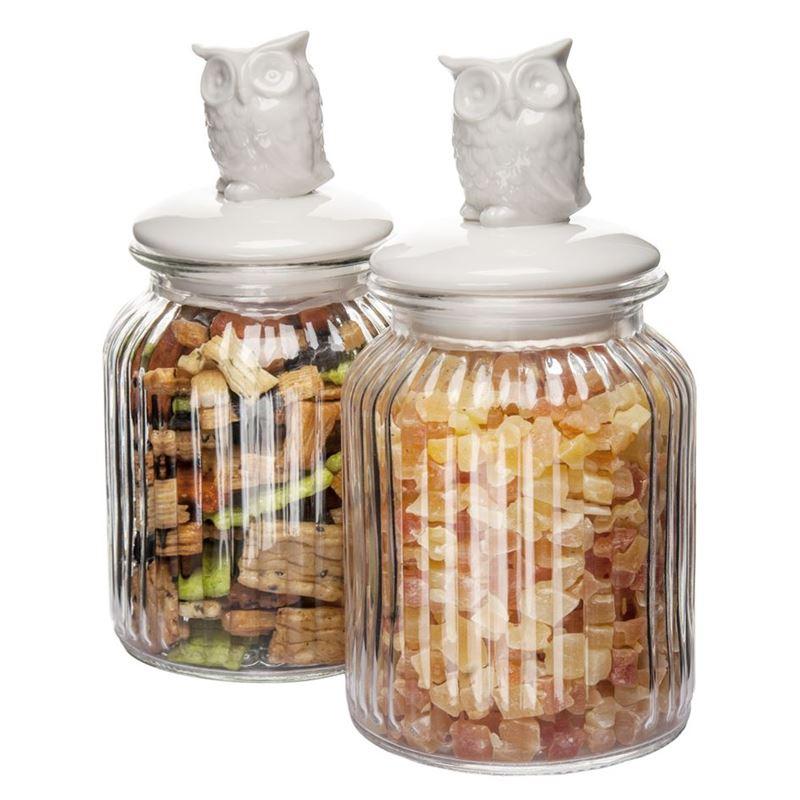 Benzer – Critters Glass Storage Jar with Airtight Ceramic Lids Set of 2 950ml 11.2×11.2x22cm