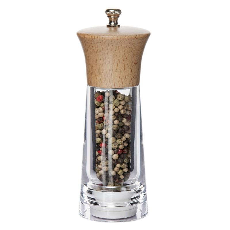 Benzer – Baron Premium Grind Beechwood Acrylic Pepper Mill 15cm