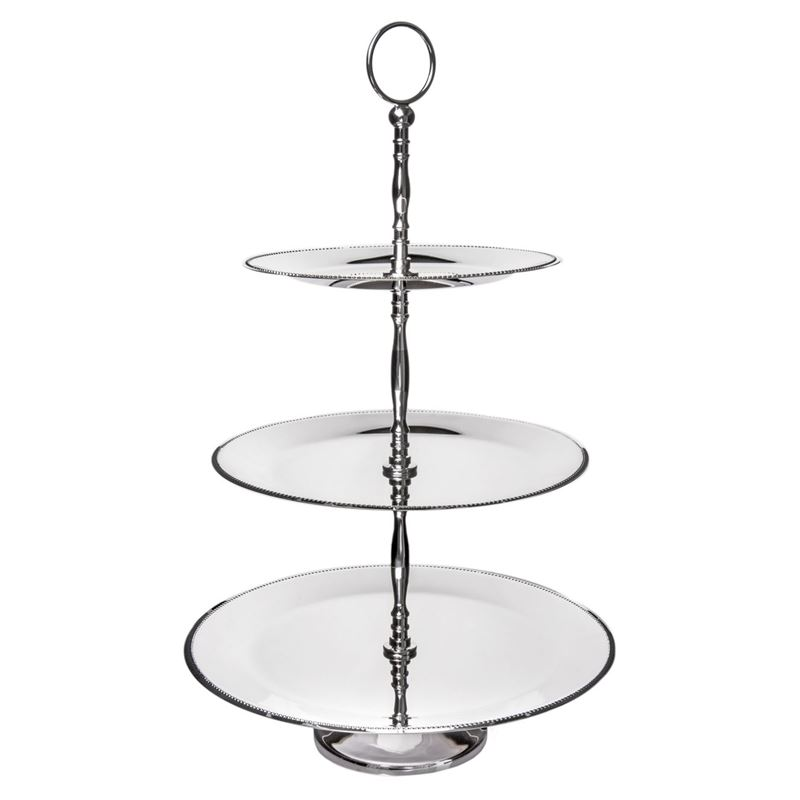 Dan Samuels – English Bead Silverplated 3 Tier Round Cake Stand 53cm