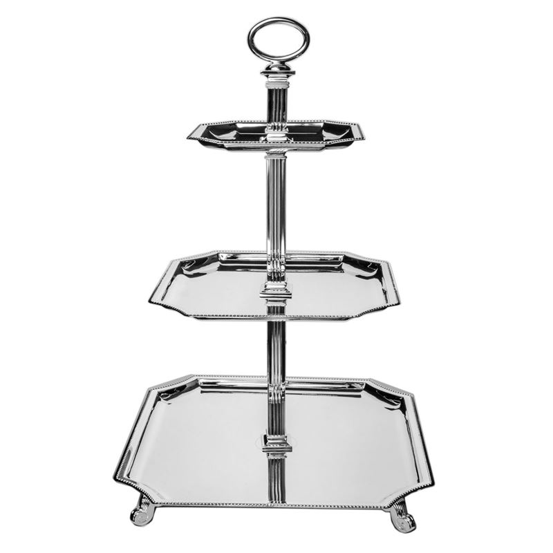 Dan Samuels – Knightsbridge Silverplated 3 Tier Square Cake Stand 49cm