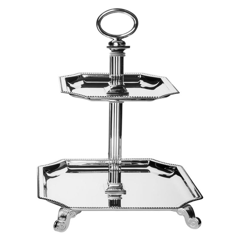 Dan Samuels – Knightsbridge Silverplated 2 Tier Square Cake Stand 30cm
