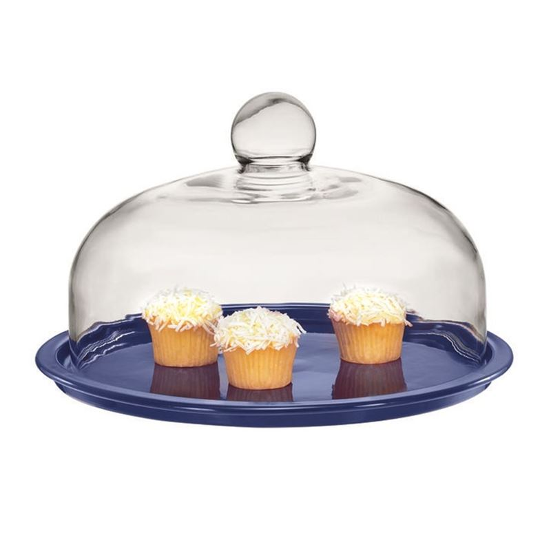 Chasseur – La Cuisson 2 PIECE Cake Platter with Glass Domed Lid Blue 29.5cm