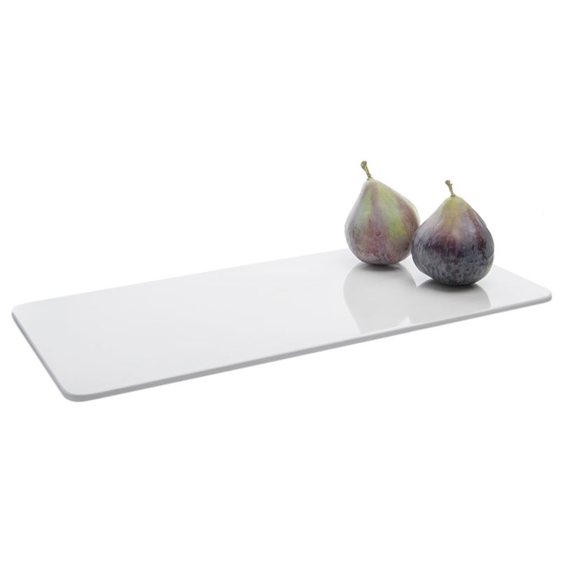 Benzer – Ice White Zen Melamine Flat Rectangular Platter 35.6×16.3×1.4cm