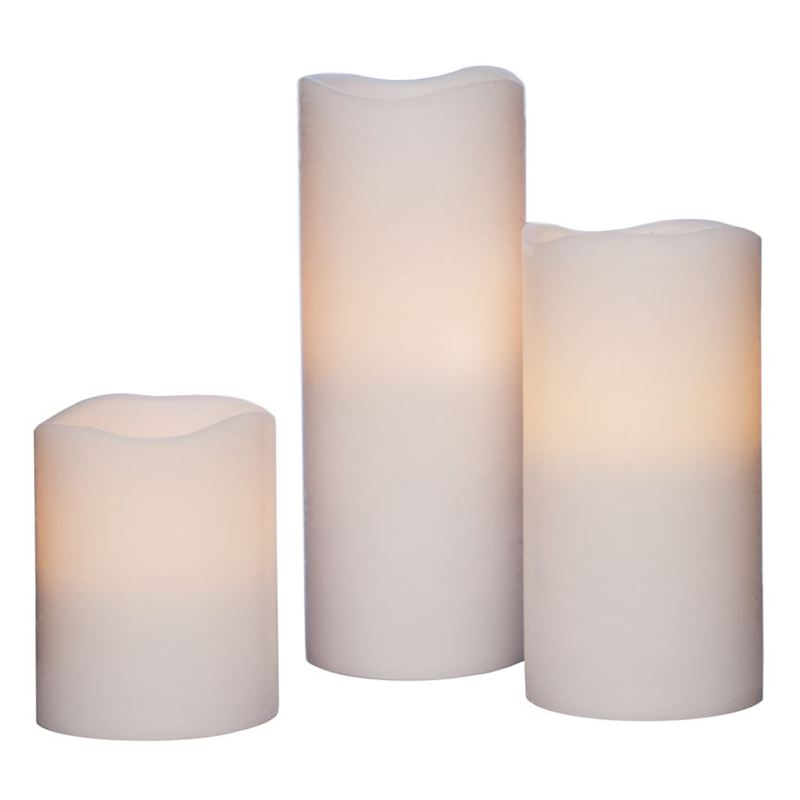 Zuhause – Flameless Flickering Candles set of 3 White