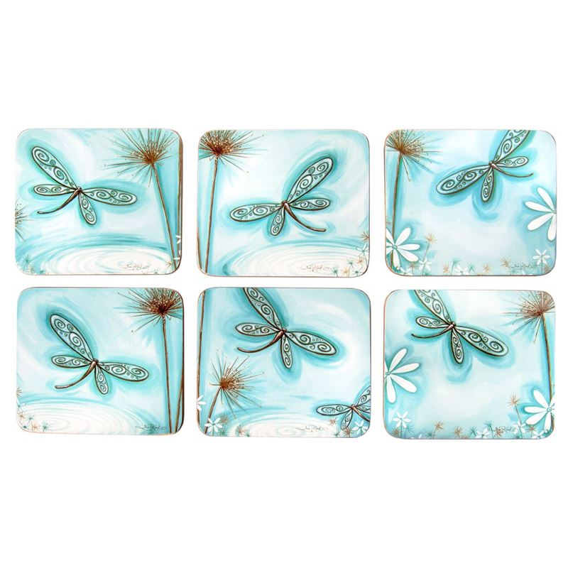 Lisa Pollock by Cinnamon – Blue Dragonfly Coasters 11×9.5cm Set of 6