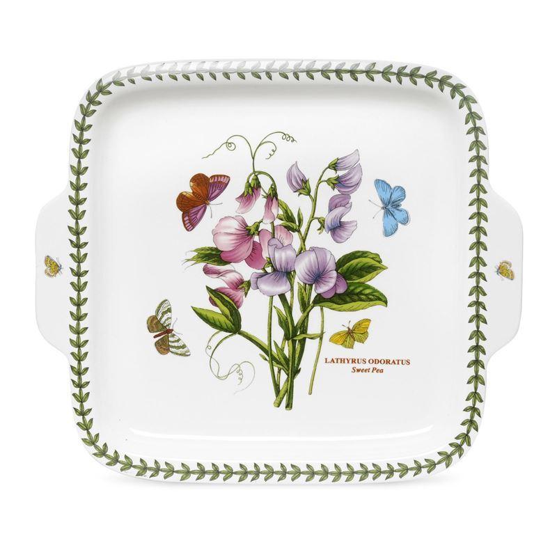 Portmeirion Botanic Garden – Square Handled Dessert Dish 32×28 Sweet Pea