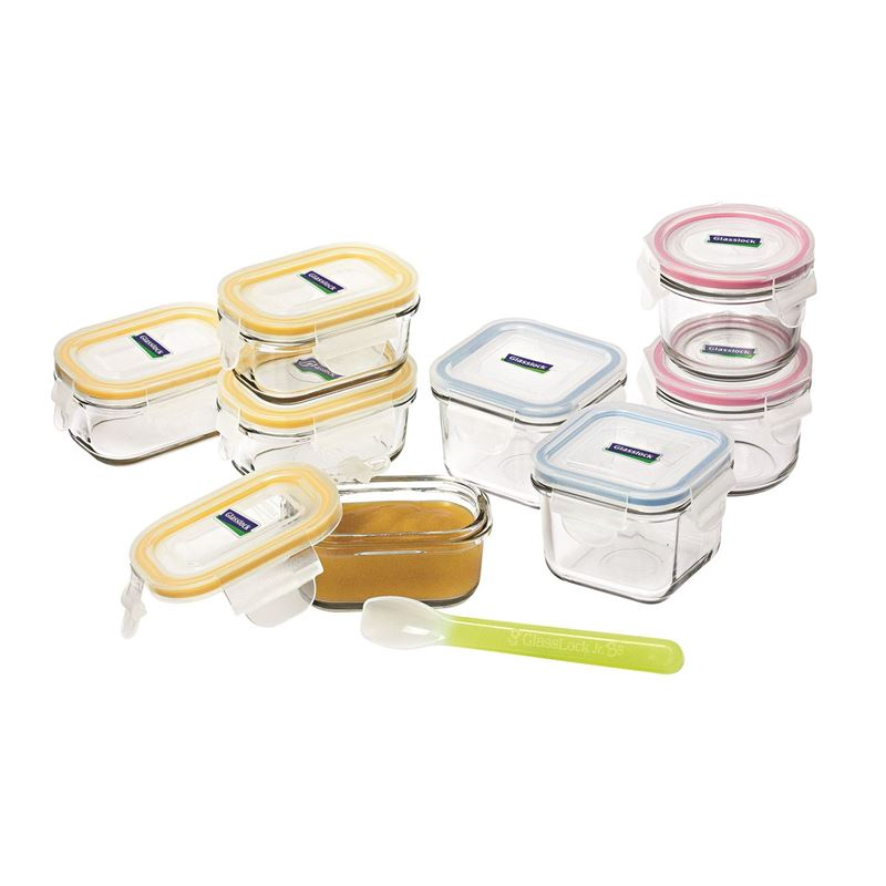 Glasslock – Baby Food Container 9pc Set with Silicone Spoon